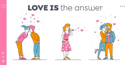 Love Relation Landing Page Template. Happy Loving Couple Kissing. Man and Woman Characters Spend Time Hugging and Rejoice with Hearts around. Girl Send Air Kiss, Linear People Vector Illustration Ilustração