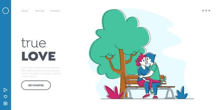 Loving Couple Kissing on Bench in Summer City Park Landing Page Template. Young People Spend Time Together Flirting, Chatting on Street. Characters Fall in Love, Dating. Linear Vector Illustration Ilustração