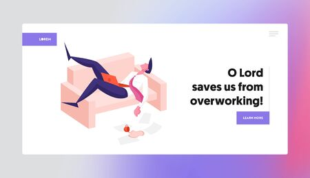 Procrastination, Overwork Burnout Symptoms Landing Page Template. Lazy, Boring or Tired Businessman Character with Low Energy Power Sleeping at Working Place on Couch. Cartoon Vector Illustration
