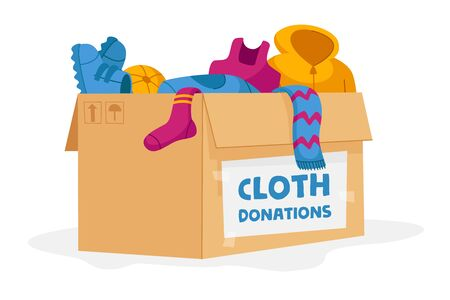 Cloth Donation and Charity Concept. Carton Box Full of Different Clothes for Poor People and Refugees in Need Isolated on White Background. Volunteering Social Aid. Cartoon Vector Illustration