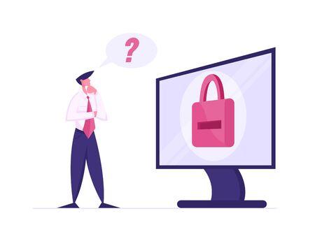 Web-Sicherheitskonzept. Durchdachter Geschäftsmann, der versucht, sich an seinem Computer anzumelden. Benutzer vergaß Passwort, männlicher Charakter steht auf riesigem Desktop mit Vorhängeschloss auf dem Bildschirm. Cartoon-Vektor-Illustration Vektorgrafik