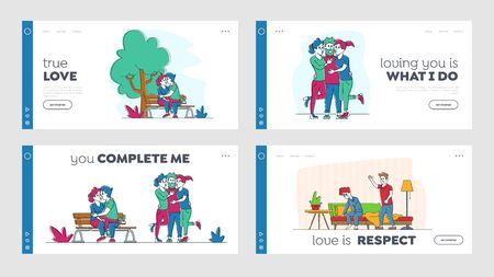 Kissing People, Love and Home Scandal Landing Page Template Set. Male and Female Characters Kiss, Hug and Spend Time Together. Wife and Husband Quarrel and Spouse Violence. Linear Vector Illustration Ilustração