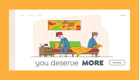 Spouse Quarrel Landing Page Template. Married Couple Characters Sit on Bed Feeling Bad cos of Arguing. Divorce, Family Crisis and Conflict Situation, Disappointment. Linear People Vector Illustration
