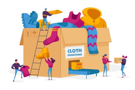 Donation and Charity Concept. Tiny Volunteers Characters Bringing Different Clothes for Poor Homeless People in Complicated Life Situation to Huge Carton Box with Conveyor. Cartoon Vector Illustration