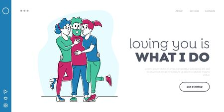 Love Triangle Landing Page Template. Couple of Girls Hugging and Kiss Hipster Man Character. Love, Human Relations, Gigolo Dating with Women at Party for Adults. Linear People Vector Illustration