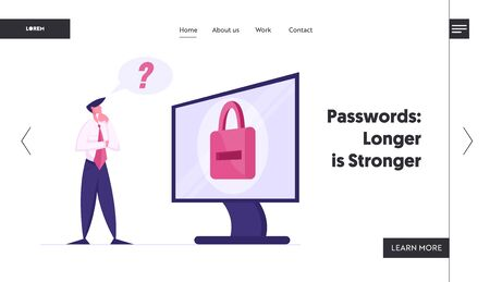 Web Security Landing Page Template. Business Man Character Trying to Log to his Computer. User Forgot Password, Male Character Stand at Huge Desktop with Padlock on Screen. Cartoon Vector Illustration