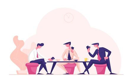 Business People Wear Formal Suits Sitting at Table Playing Cards during Coffee Break. Businessmen Characters Relaxing