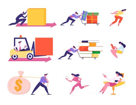 Set Business People Characters Pushing Trolley with Files and Gift Boxes, Riding Forklift, Drag Money Sack