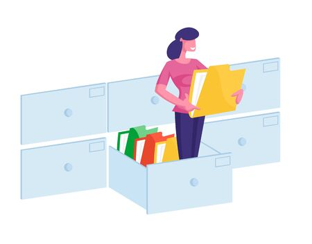 Document Management System, Information Database Catalog Concept. Business Woman Character Stand at Huge Data File Illustration