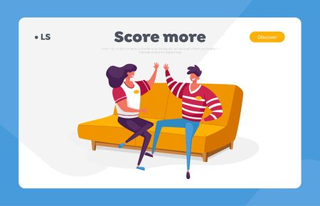 Sport Fans Landing Page Template. Cheerful Characters Wear Sports Club Uniform Giving High Five Sitting on Couch Cheering for Favorite Team Watching Match at Home. Cartoon People Vector Illustration