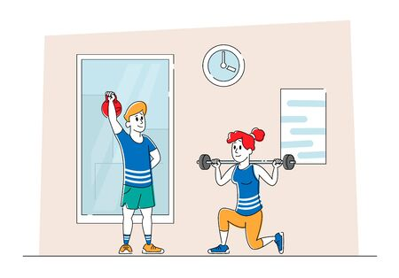 Characters Training in Gym. Woman Squatting with Weight, Man Lifting Barbell People in in Sportswear Workout, Prepare for Competition. Exercise, Sport Activity Lifestyle. Linear Vector Illustration