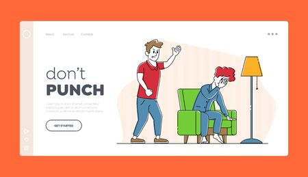 Young Family Quarrel and Swear Landing Page Template. Aggressive Man Character Yelling on Crying Woman