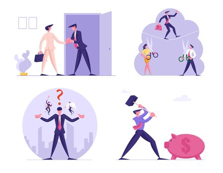 Set of Business People with Scissors Prepare to Cut Rope with Walking Man. Characters Handshake, Choosing Wrong or Correct Way with Angel and Devil, Hitting Piggy Bank. Cartoon Vector Illustration
