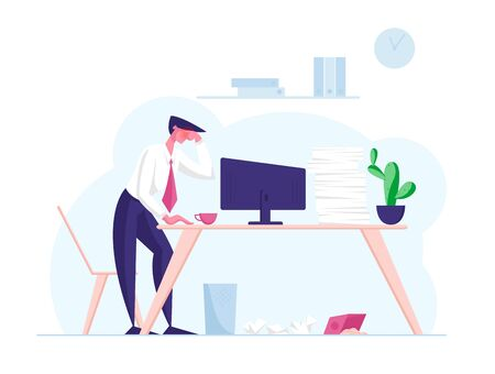 Overwork Burnout, Tiredness Fatigue and Depression Concept. Tired Overload Sad Businessman Character with Low Life Energy Power Feeling Headache Working Hard in Office. Cartoon Vector Illustration