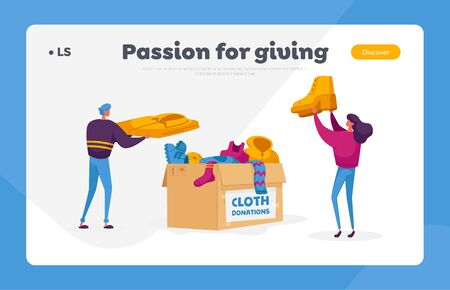 Characters Volunteers of Charity Organization Collecting Clothes for Beggars Living on Street. Landing Page Template Vecteurs