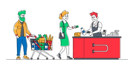 Shopping Queue in Supermarket Concept. Customer Characters with Goods in Trolleys and Cart Stand at Cashier Desk Paying for Purchases Credit Cards. Sale, Consumerism. Linear People Vector Illustration