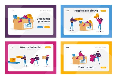 Social Altruism, Donation and Charity Landing Page Template Set. Characters Filling Boxes with Different Clothes for Poor People who Appears in Complicated Life Situation. Cartoon Vector Illustration