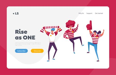 Friends People Group with Red T-shirts Having Excited Fun on Sport World Championship Landing Page Template