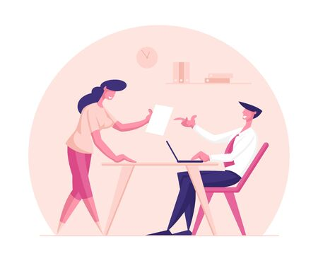 Creative Businesswoman Character Share Good Idea with Business Man Boss or Partner Sitting at Table with Laptop. Office Worker, Clerk Insight, Project Development. Cartoon People Vector Illustration