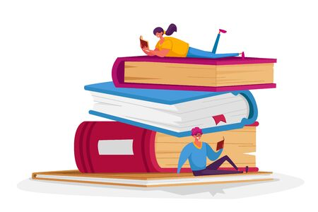 Tiny Male and Female Characters Reading on Huge Books Pile. Young Woman and Man Students or Bookworms Spend Time in Library or Prepare for Examination Get Knowledge. Cartoon People Vector Illustration