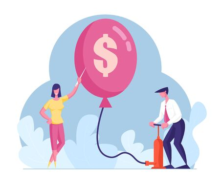 Male Character Inflate Balloon with Dollar Sign Using Pump, Woman Holding Needle to Pierce. Economy Problem or Financial Crisis, Inflation, Bankruptcy, Capital Loss. Cartoon People Vector Illustration