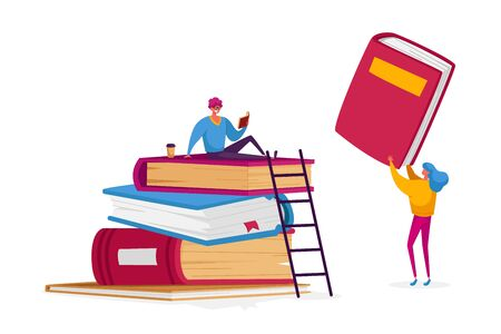 Tiny Student Characters at Huge Books Pile Learning Homework or Prepare to Exams in University or College. Young People Get Education, Gaining Knowledge, Reading Hobby. Cartoon Vector Illustration Vecteurs