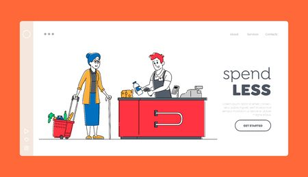 Sale, Consumerism Landing Page Template. Senior Female Customer Character with Goods in Shopping Basket Stand in Grocery at Cashier with Seller Paying for Purchases, Linear People Vector Illustration