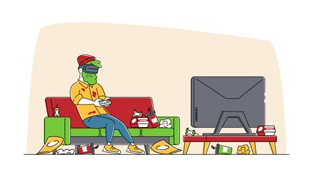 Gaming Addiction, Virtual Reality Simulation Hobby. Man Gamer Character Playing Video Game in VR Goggles with Messy Garbage around. Future Technology Entertainment Industry. Linear Vector Illustration