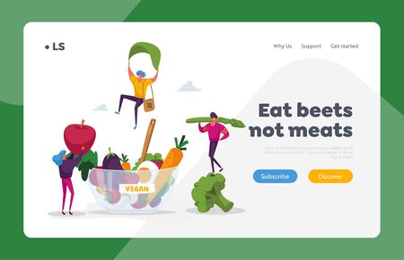 Organic Vegan Food Choice Landing Page Template. Tiny Characters Bring Fruits and Vegetables into Huge Bowl. Vegetarian Diet as Source of Health, Healthy Lifestyle. Cartoon People Vector Illustration Vector Illustration