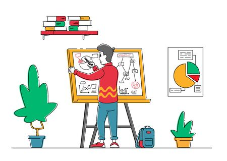 Businessman Character Stand Front of White Board Drawing Business Plan Strategy and Tactics Theory or Showing Project Diagram in Office. Brainstorm, Idea Development Scheme. Linear Vector Illustration
