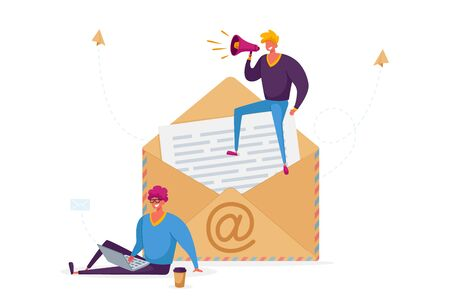 People Writing and E-mail Letter Concept. Tiny Male Characters with Laptop and Loudspeaker Stand at Huge Envelope with Et Symbol and Paper inside. Electronic Mail Message. Cartoon Vector Illustration