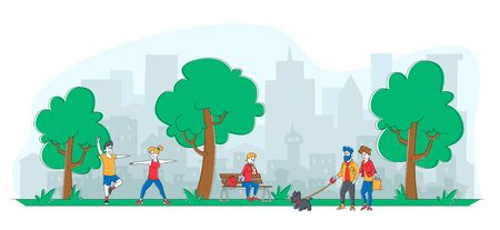 People City Dwellers Outdoors Activity. Male Female Characters Spend Time in Public Park Walking with Pet, Eating Ice Cream, Exercising. Summertime Outdoor Activity Linear People Vector Illustration