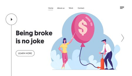 Financial Crisis, Inflation, Bankruptcy, Capital Loss Landing Page Template. Male Character Inflate Balloon with Dollar Using Pump, Woman Holding Needle to Pierce. Cartoon People Vector Illustration Vectores