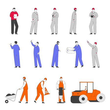 Set of Workers Characters on Road Repair and Construction Works. Roller Machine Rolling Ground, Builders Remove Soil and Asphalt with Wheelbarrow and Jackhammer. Linear People Vector Illustration