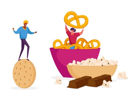 Snack, Fast Food with High Level of Carb Concept. Tiny Male Female Characters with Huge Cookie Cracker at Bowl with Baked Pretzels. High-Calorie Unhealthy Nutrition. Cartoon People Vector Illustration Archivio Fotografico - 144999579