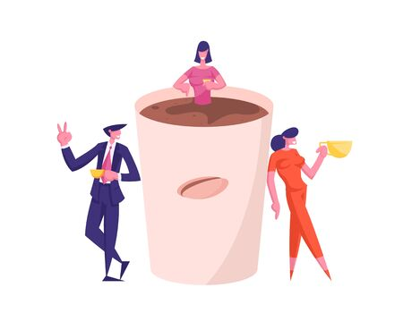 Business People Characters with Mugs at Huge Cup, Colleagues Having Coffee Break in Meeting Room, Friends Drinking Beverages after Work Having Friendly Conversation. Cartoon Vector Illustration