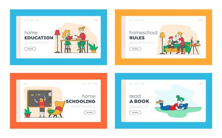 Homeschooling Landing Page Template Set. Children Characters Get Education at Home with Tutors or Parents in Relaxed Environment. Domestic Education Plan for Pupils. Linear People Vector Illustration