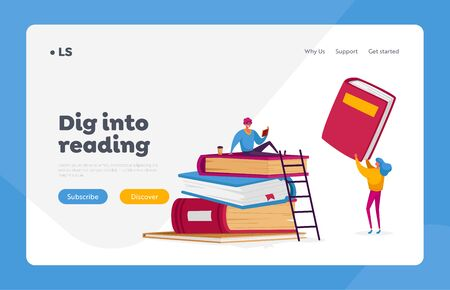 People Get Education, Gaining Knowledge, Reading Hobby Landing Page Template. Tiny Characters at Huge Books Learning Homework or Prepare to Exams in University or College. Cartoon Vector Illustration Illustration