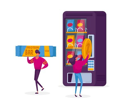 Vending Machine Food Concept. Girl Character Put Coin for Buying Various Snacks, Crackers and Crisp from Automate, Retail Technology for Selling Fastfood Production Cartoon People Vector Illustration