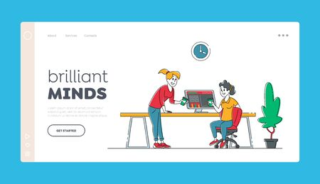 Office Employees Business People Work in Company, Teamwork Landing Page Template. Team Group of Creative Characters