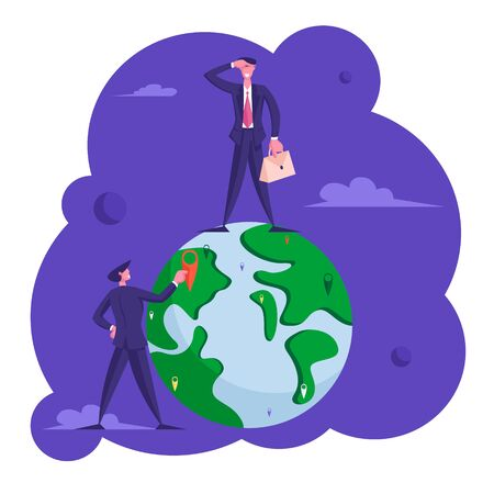 Couple of Businessmen Characters at Earth Globe Moving Navigation Pins and Looking Far Away. Global Development, Worldwide Globalization, Business Vision Concept. Cartoon People Vector Illustration