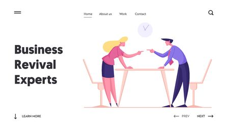 Business People Dispute, Disagreement, Challenge Leadership Landing Page Template. Business Woman and Man Arguing and Fight, Quarrel in Office, Characters Fighting. Cartoon Vector Illustration Illusztráció