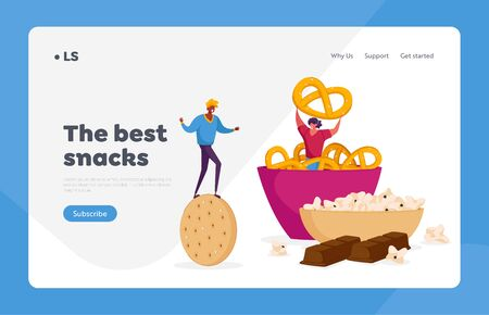 Snack, Fast Food with High Carb Level Landing Page Template. Tiny Characters with Huge Cookie Cracker at Bowl with Baked Pretzels. High-Calorie Unhealthy Nutrition. Cartoon People Vector Illustration Ilustração