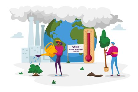 Global Warming, Environment Pollution, Global Heating Impact. Characters Care of Green Plants Watering and Planting against Factory Pipes Emitting CO2 Gas and Smoke. Cartoon People Vector Illustration