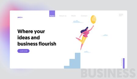 Businesswoman Character Flying with Air Balloon in Air Landing Page Template. Inspiration, Progress and Creative Solution. Business Woman Career Growth and Escaping Crisis. Cartoon Vector Illustration