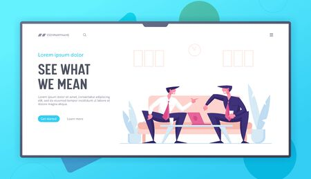 Corporate Friendship and Good Deal Landing Page Template. Business Partners Men Characters Business Conversation in Office. Partnership, Project Meeting, Negotiation. Cartoon Vector Illustration Reklamní fotografie - 146996440