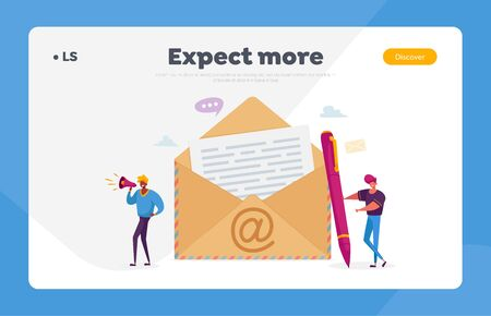 People Send E-Mail to Friends or Colleagues Landing Page Template. Tiny Male Characters Stand at Huge Envelope with Et Symbol and Letter with Text, Email Notification. Cartoon Vector Illustration