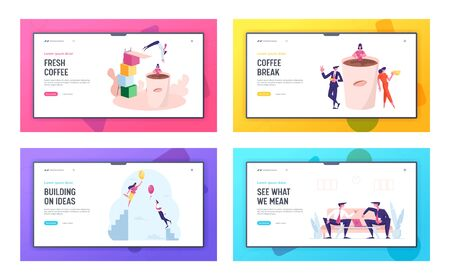 Coffee Break, Friendly Conversation and Creative Idea Landing Page Template Set. Businesspeople Character sat Huge Cup with Beverage, Partners Communication, Flight. Cartoon People Vector Illustration