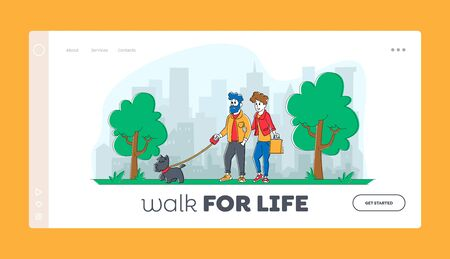People Spending Time with Pet Outdoors Landing Page Template. Couple Characters Walking with Dog in Public City Park or Home Yard. Leisure, Communication with Animals. Linear Vector Illustration