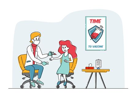 Child Vaccination, Immunization Procedure. Doctor Character Put Injection to Girl Sitting on Chair, Medic Shoot